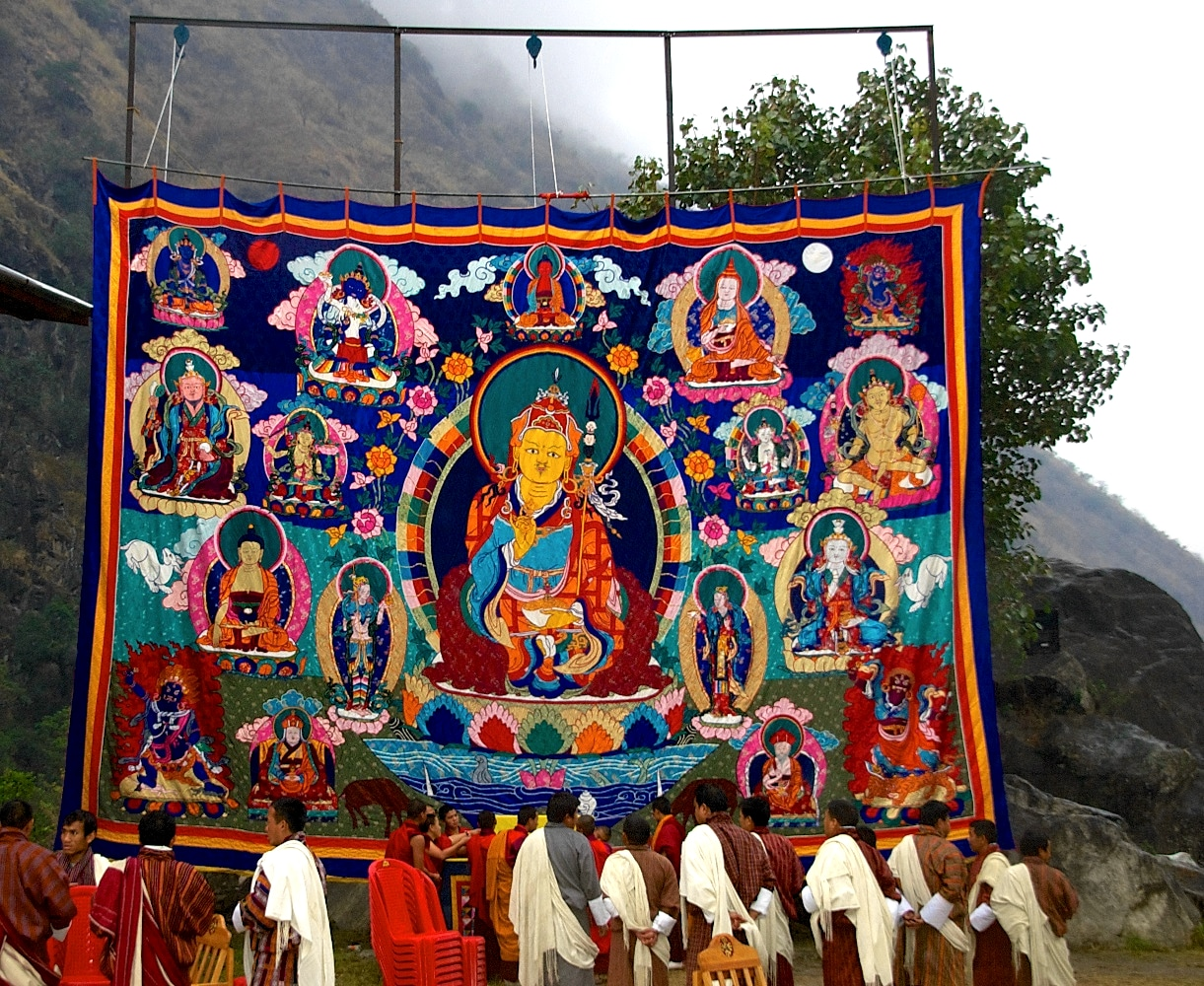 Guru Rinpoche Throngdrel ผ้าพระบฎรูปท่าน กูรูรินโปเช