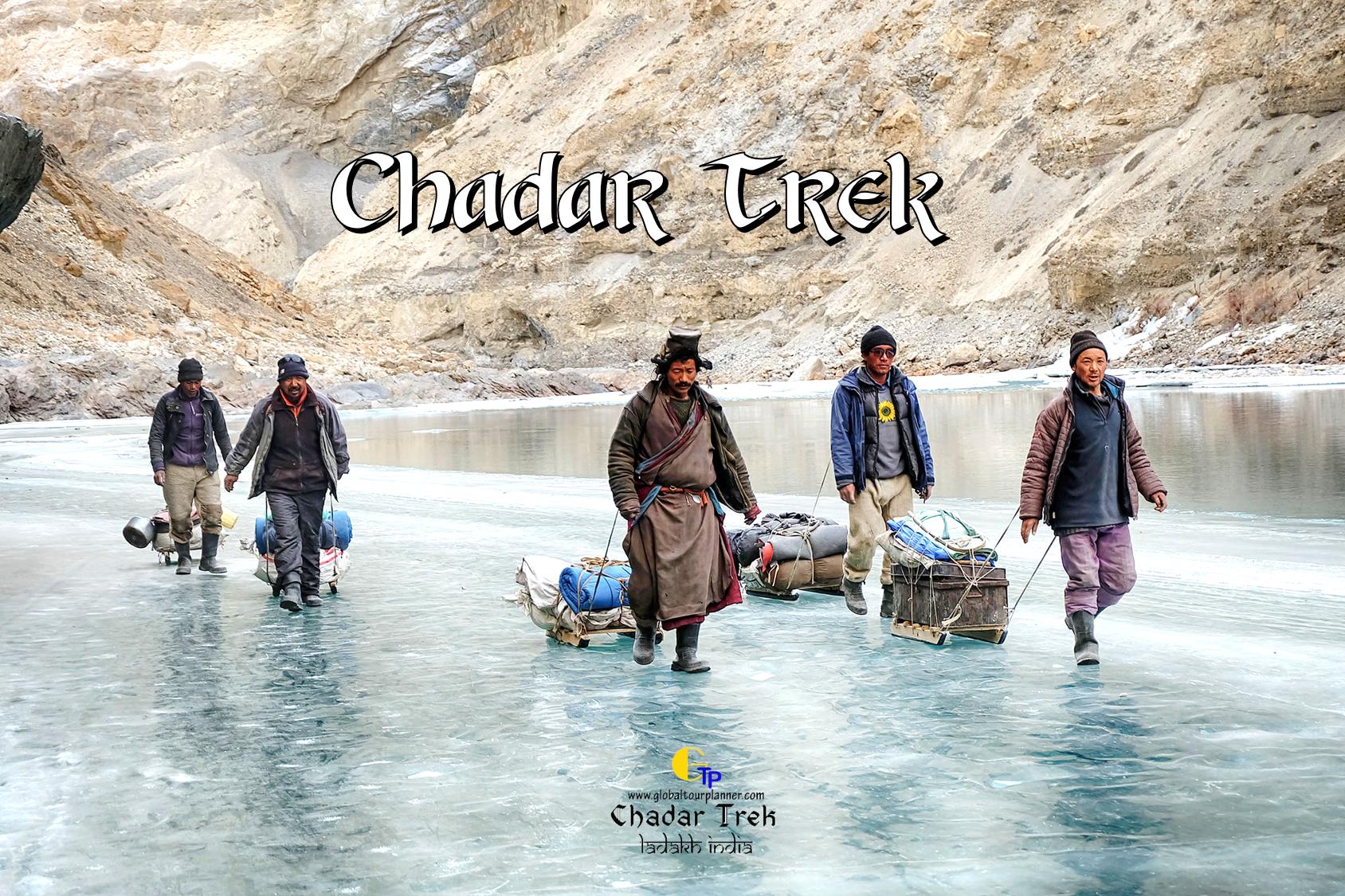 Chadar Trek Locals walking on Zanskar Frozen River
