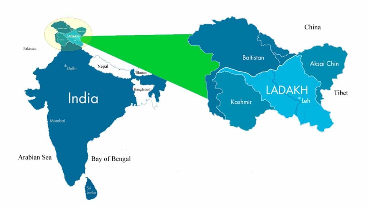 Ladakh map in India GTP