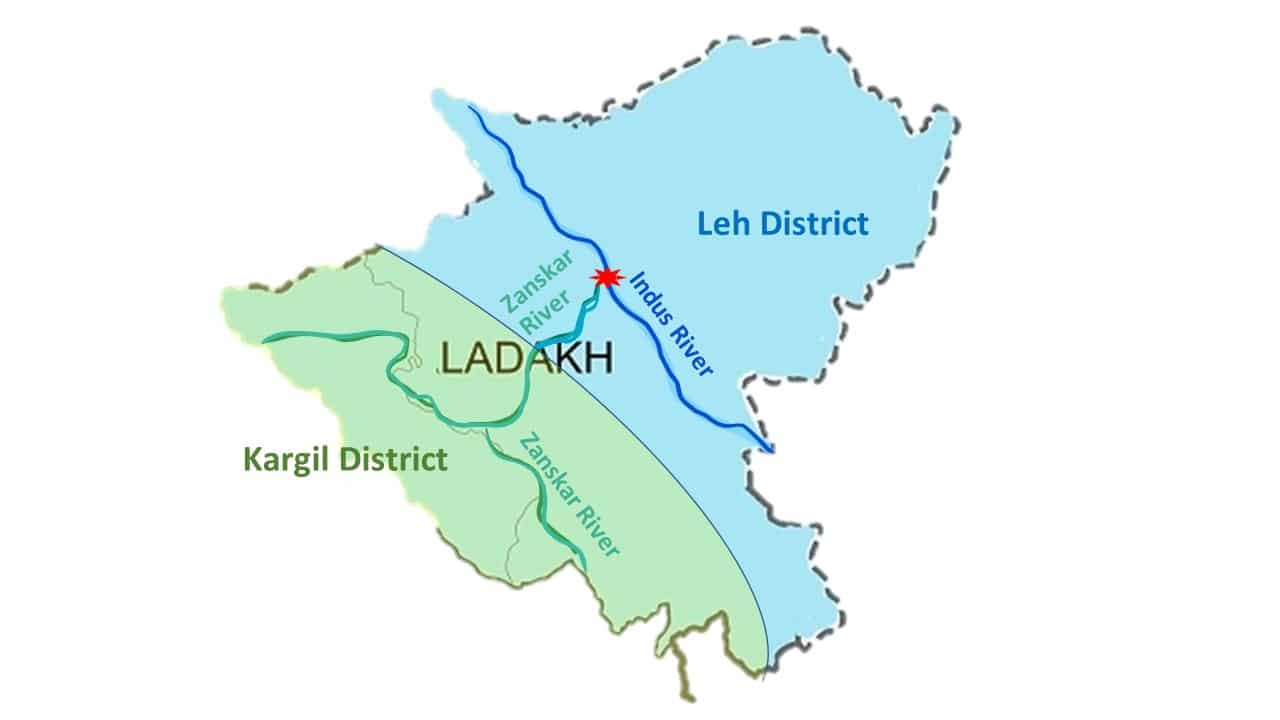 Ladakh rivers and Districts