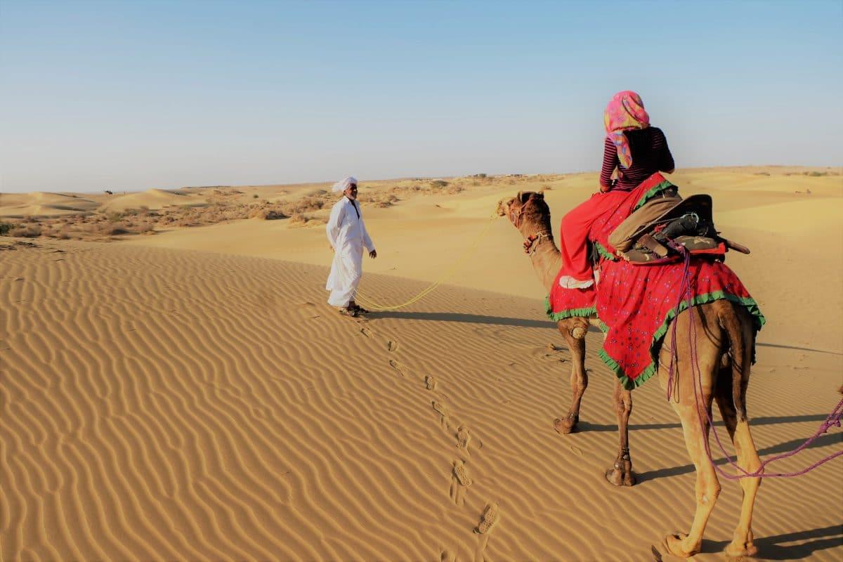 India Jaisalmer Camel Riding in Sand dune