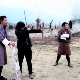 Tourist tries Bhutan Archery