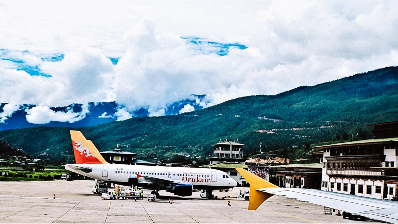 Drukair Airplane at Paro Airport