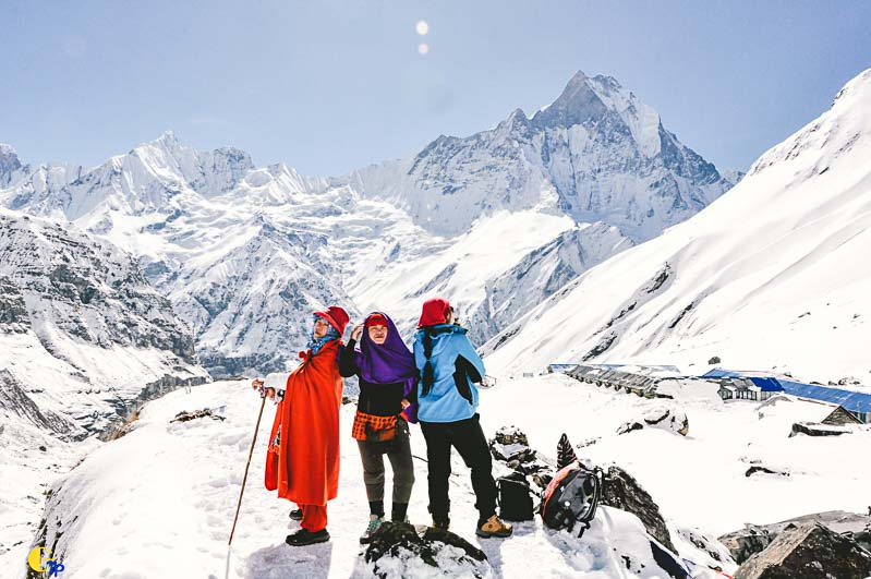 3 ladies reaching Annapurna Base Camp